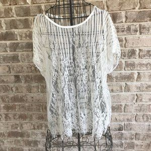 Lavish Sheer White Lace Blouse top Cover Up Large